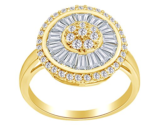Round & Baguette Shape White Cubic Zirconia Sun Eternity Cluster Ring In 14K Yellow Gold Over Sterling Silver,Ring Size-9.5 (14k Ring Cluster)
