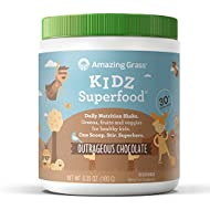 Amazing Grass, Nutritional Plant Based Kidz Superfood Powder with Greens, Veggies and Fruits, Flavor: Outrageous Chocolate, 30 servings tub, vegan kids
