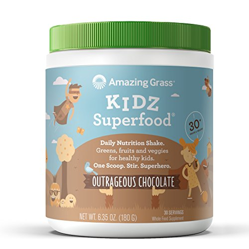 Amazing Grass, Nutritional Plant Based Kidz Superfood Powder with Greens, Veggies and Fruits, Flavor: Outrageous Chocolate, 30 servings tub, vegan kids (Super Chocolate)