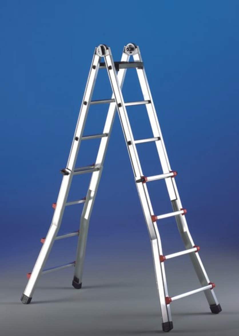 Escalera telescópica multifuncional de aluminio Topika Svelt 10 + 10 Peldaños: Amazon.es: Bricolaje y herramientas