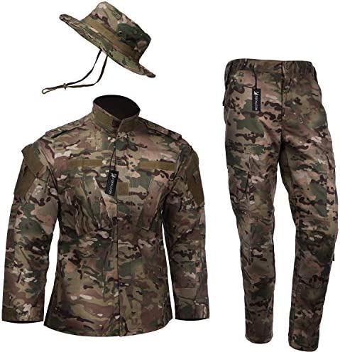 [Falcon] Multicam Airsoft Camouflage Top and Bottom Boonie Hat Belt American Flag Patch 4 Pcs Set XS – XXL