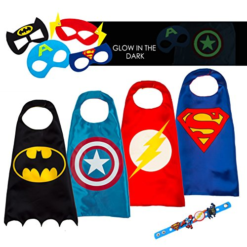 4 Superhero Capes For Kids - Super Hero Toys & Costumes Birthday Party Supplies - Kids Costumes Capes