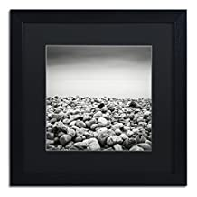 Trademark Fine Art Pebble Beach by Dave MacVicar Frame, 16 by 16-Inch, Black Matte