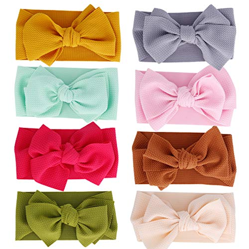 Baby Girl Headbands and Bows CLASSIC Knot Nylon Headwrap Super Soft Stretchy Nylon Hair bands for Newborn Toddler, Children (ZM131 ()