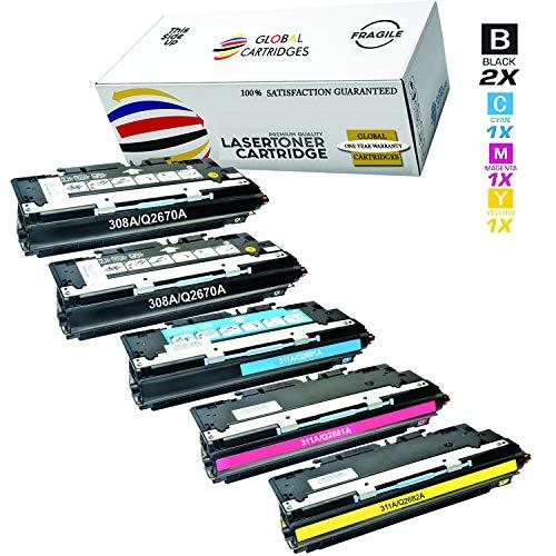 Global Cartridges Compatible Toner Cartridges Set+Black for HP 308A 309A 311A/3500 3700 Series/Q2670A Q2681A Q2682A Q2683A(2xBlack,1xCyan,1xYellow,1xMagenta)