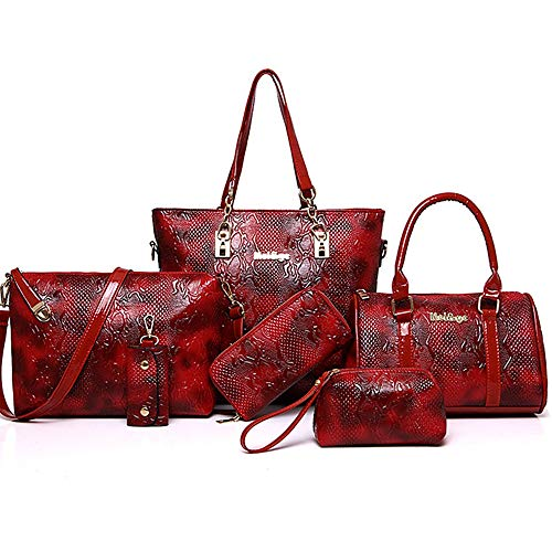 Capacité Sequin Grande Material QZTG Purse À Sacs Set Main Tout Blue Pieces sac main Red Bag à Zipper De g Women's Fourre 6 Coffee Bags Set Special w6w4SYq