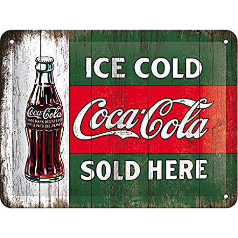Nostalgic-Art Cartel de Chapa 15x20 -Coca-Cola - Ice Cold Sold Here