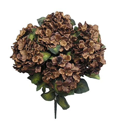 Admired By Nature 7 Stems Artificial Full Blooming Stain Hydrangea for Home, Restaurant, Wedding & Office Decoration Arrangement, Chocolate