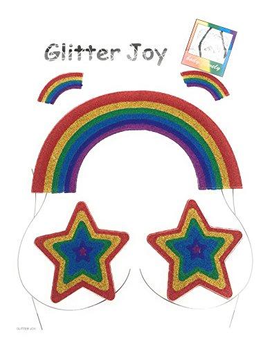 (Gay Pride Rainbow Glitter Rainbow Stars Joy Face Gems Rock Sticky Adhesive Temporary Tattoo - Jewel Diamante Bindi Fusion Headpiece Body Jewellery Art Wedding Festival March (GP 05))
