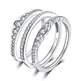 JewelryPalace 0.7ct Cubic Zirconia 3 Pcs Stackable Wedding Band Anniversary Engagement Ring Bridal Sets 925 Sterling Silver Size 7
