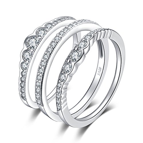 JewelryPalace 0.7ct Cubic Zirconia 3 Pcs Stackable Wedding Band Anniversary Engagement Ring Bridal Sets 925 Sterling Silver Size 8