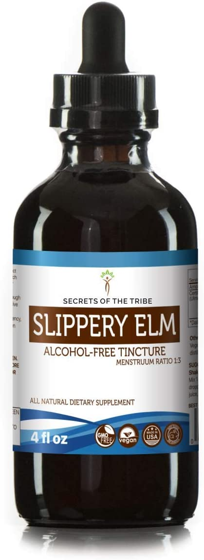 Slippery Elm Tincture Alcohol-Free Extract, Responsibly farmed Organic Slippery Elm Ulmus Rubra Soothing and Emollient Properties 4 OZ