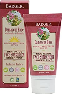 Badger Damascus Rose Face Sunscreen Lotion with Lavender and Chamomile - 1.6 oz Tube