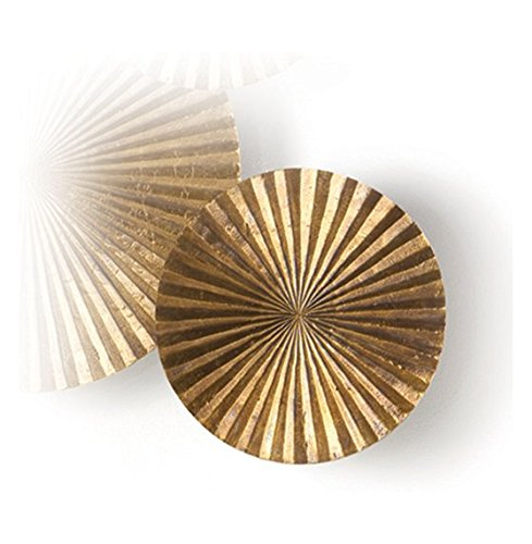 Apollo Small Metal Wood Crimped Gold Wall Plaque Disc - Apollo Wall Sculpture