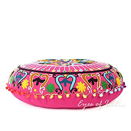 Eyes of India 24 Pink Embroidered Decorative Floor Seating Pillow Cushion Cover Indian Decor