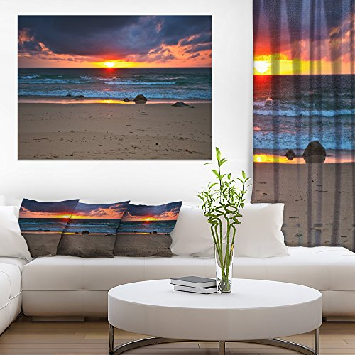 Design Art Dramatic Colorful Sky Over Beach Large Seashore Canvas Print