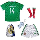 2018 FWC Mexico #14 CHICHARITO Kids Home Soccer Jersey & Shorts Socks Set Youth Sizes (Home, 9-10 YEARS)