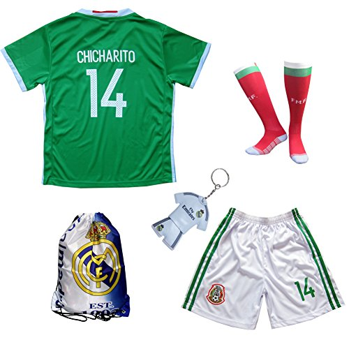 CHICHARITO Kids Home Soccer Jersey & Shorts Socks Set Youth Sizes (Home, 13-14 YEARS) (Mexico Soccer Jersey)