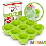 KIDDO FEEDO Baby Food Storage Container Tray with Silicone Clip-On Lid - 9 x 2.6oz Easy-out Portions - BPA Free and FDA Approved - FREE eBook by Award-winning Author Dietitian - Green