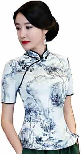 350abb600ff0b Shanghai Story Short Sleeve Cheongsam Top Chinese Blouses Women s Qipao  Shirt