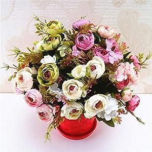 Artificial Flowers,1 Bouquet Vintage Artificial Tea Plum Silk Flowers Bouquet for Wedding Party Decor 47