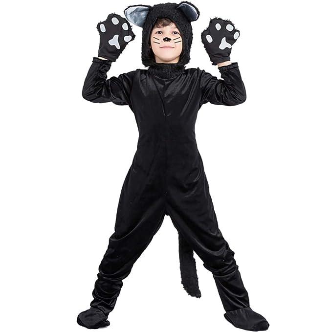 Amazon.com: Disfraz de gato negro para niños, disfraz de ...