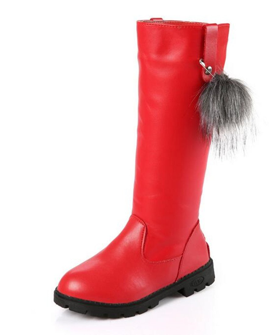 Bumud Kids Girls Leather Knee High Riding Zipper Boots Flat Shoes (13 M US Little Kid, Red)