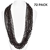 (72 Pack) 33'' Inch Round Metallic Mardi Gras Party Necklace Beads (Black)