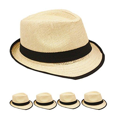 Straw Fedora Hat Trilby...