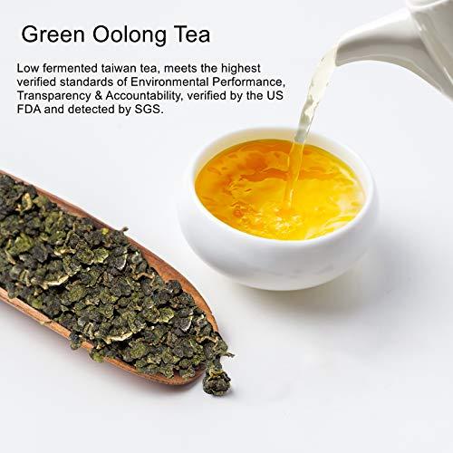 Yan Hou Tang Taiwan Green Oolong Tea Loose Leaf Organic Gunpowder Full Four Seasons Spring for Weight Loss Detox - 150g Fragrance Taste Formosa High Mountain Raw Low Fermented