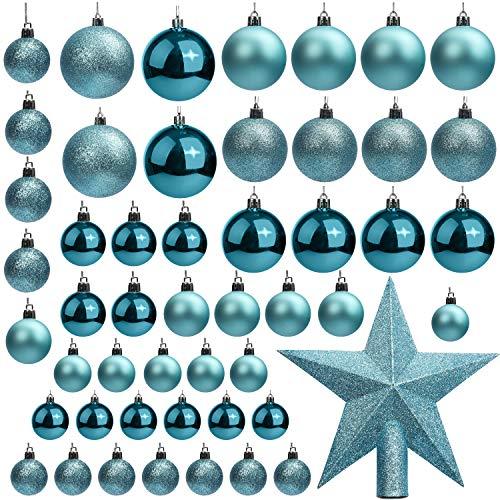 BELLE VOUS Bola de Navidad (Pack de 50) Tamaños Variados Azul Purpurina con Estrella de Navidad para la Punta del Árbol – Adornos de Navidad Colgante para Decoraciones Interiores y Exteriores