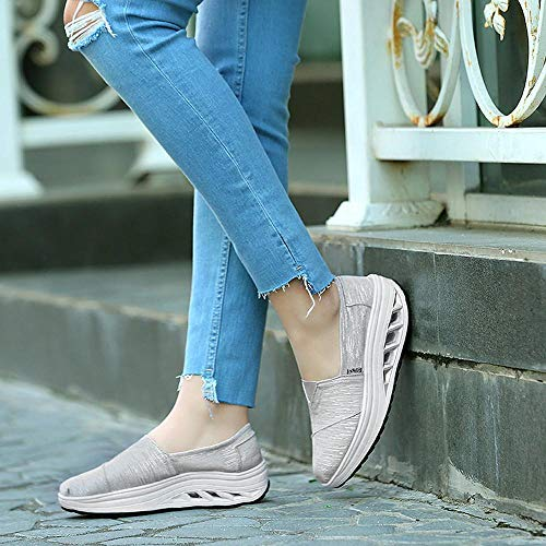 Plateado Zapatos Zapatillas Mujer Cabeza Aire Cojín Ponerse De Plataforma Running Redonda Oferta Logobeing En Comodos Para BqBa4