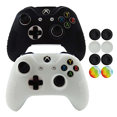 Hikfly 2pcs Non-Slip Studded Rubber Oil Silicone Controller Cover with 8pcs Thumb Grips Caps Kit for Xbox One X / One S/Slim Controller(Black,White)
