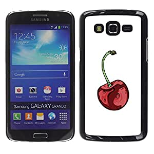 LECELL--Funda protectora / Cubierta / Piel For Samsung Galaxy Grand 2 SM-G7102 SM-G7105 -- Red Minimalist White Fruit --