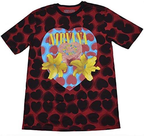 NIRVANA ニルヴァーナ Heart Shaped Box Tシャツ ブラックxレッド