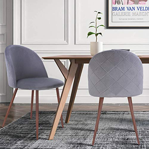 HOMECHO Velvet Dining Chairs Set of 2, Mid Century Modern Upholstered Accent Leisure Side Vanity Chair with Sturdy Metal Legs, for Home Living Room, Gray