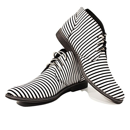 PeppeShoes Modello Zebra  12 US  Handmade Italian Mens Color White Ankle Chukka Boots  Cowhide Smooth Leather  LaceUp