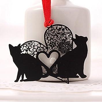 Fdit - Segnalibro in lega di metallo con logo Kawaii, colore: nero Black Cat