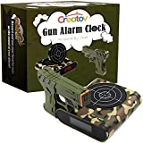 Target Alarm Clock With Gun - Infrared Target and Realistic Loud Sound Effects Fun Laser Pistol Game Clocks for Heavy Sleepers Kids Boys & Girls Infrared 0.8 MW Camouflage Color by Creatov