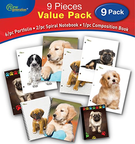 New Generation - Puppies - 9/PC Bundle Value Pack contain , 6/pc Folders , 2/pc Spiral Notebooks ,1/pc Composition Book - 9/pcs Bundle set, (WIDE Ruled 9 PIECE VALUE PACK)