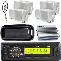 New Pyle Marine audio stereo player 200W indash Marine media AM/FM receiver 4- 3.5 box marine speakers, 400 watt waterproof amplifier, antenna with splash proof stereo cover (Black)