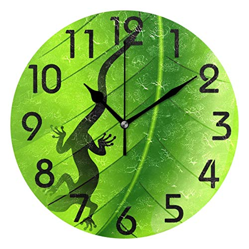 - Dozili 3D Stylish Lizard Gecko Shape on Green Leaf Print Round Wall Clock Arabic Numerals Design Non Ticking Wall Clock Large for Bedrooms,Living Room,Bathroom