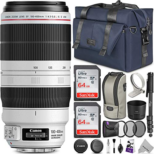 Canon EF 100-400mm f/4.5-5.6L is II USM Lens w/Advanced Photo and Travel Bundle - Includes: Altura Photo Bag, UV-CPL-ND4, Monopod and 2pcs SanDisk 64gb SD Card (Best Full Frame Dslr For Sports Photography)