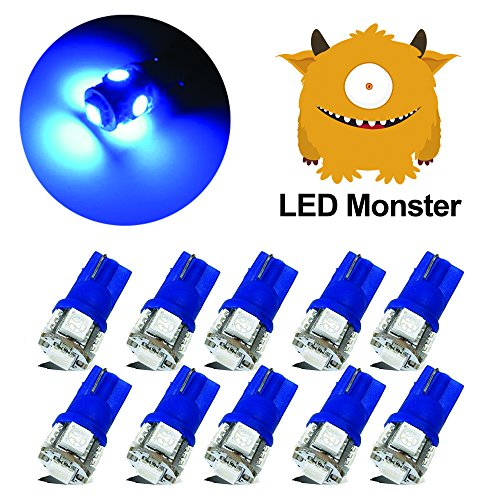 LED Monster 10-Pack Blue Interior Dome Map LED Bulbs 5 SMD Car License Plate Lights Lamp 12V 168 194 T10 5-SMD (Monster Golf Blue)