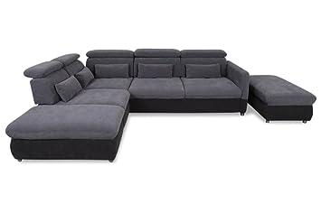 Sofa Couch Rundecke Mit Hocker Mit Sitzverstellung Anthrazit