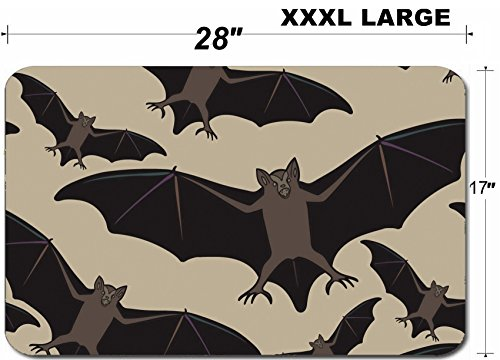 Luxlady Large Table Mat Non-Slip Natural Rubber Desk Pads ID: 44881718 Vector seamless halloween pattern with bat Repeating abstract background]()