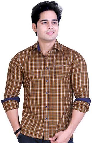Raymon louis Men's Casual Shirt, Checkered Shirt for Men (Premium Shirt 100% Yarn Dyed Cotton Shirt) (Made in India)
