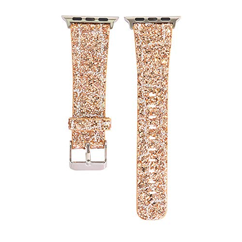 - Insaneness for Apple iwatch 38mm Bling Glitter Leather Wrist Replacement Strap Watch Band (F)