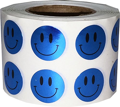 Smiley Face Stickers Metallic Blue Happy Face Labels 0.50 Inch 1,000 Total Adhesive Stickers