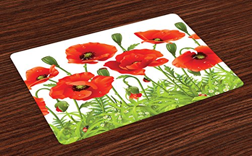 Border Poppy - Lunarable Ladybugs Place Mats Set of 4, Horizontal Border with Red Poppy Flower Bud Poppies Chamomile Wildflowers Lawn, Washable Fabric Placemats for Dining Room Kitchen Table Decoration, Red Green